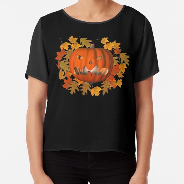 Mean Jack O Lantern Leaves Halloween  Chiffon Top