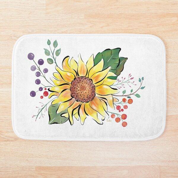 Sunflowers watercolours by Annalisa Amato Bath Mat