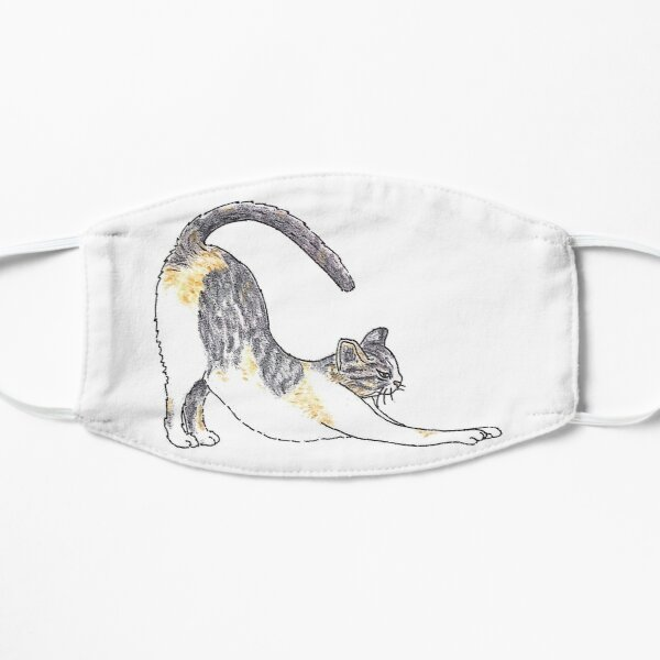 Illustrated Short-hair Tri-color Tabby Kitty Cat  Mask