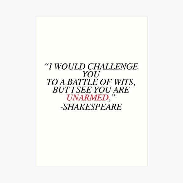 Shakespeare-Schlacht der Witze Kunstdruck