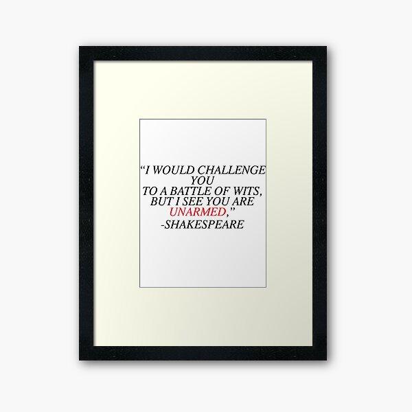Shakespeare-Battle of Wits Framed Art Print