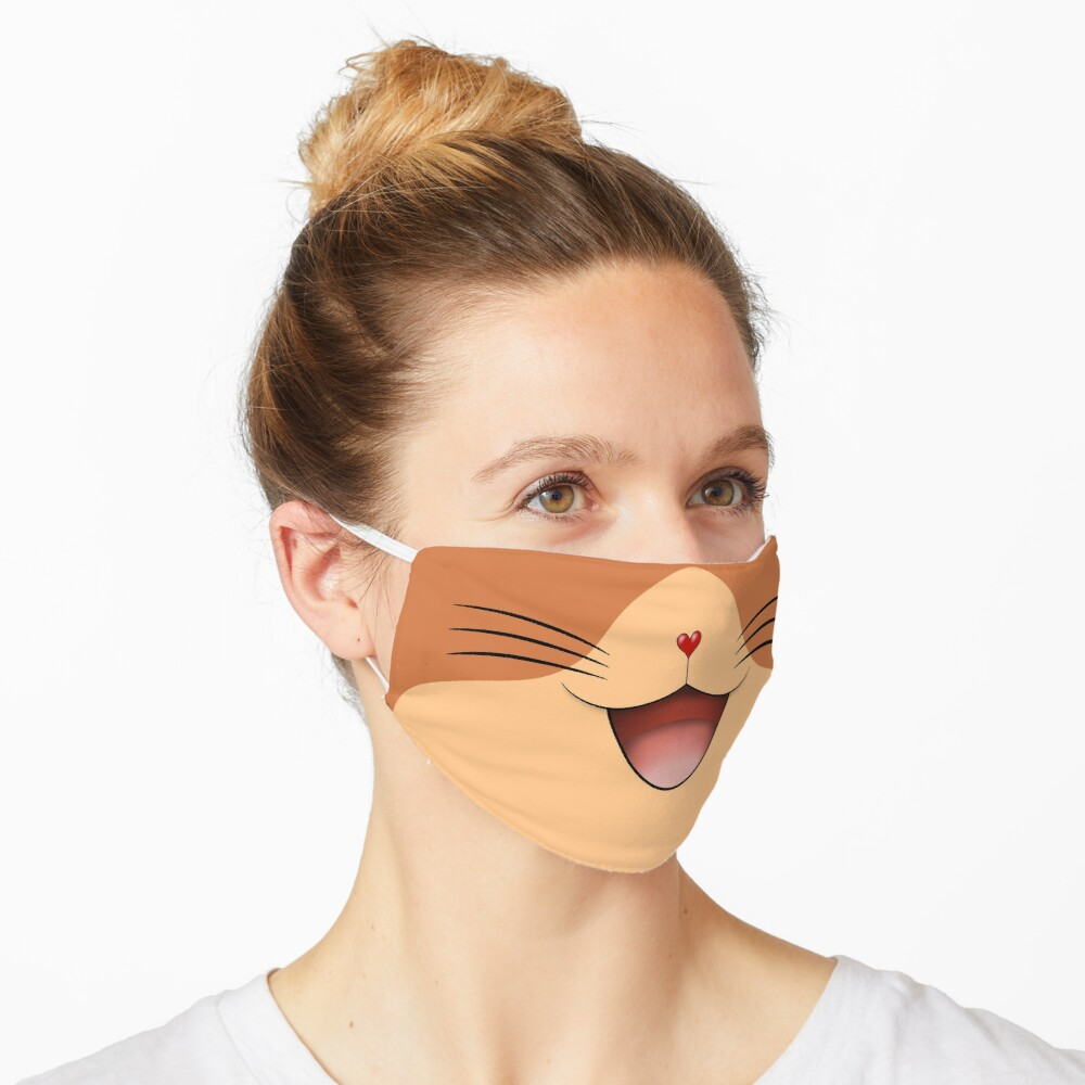 Cute happy cat face mask Beige/Ginger Mask