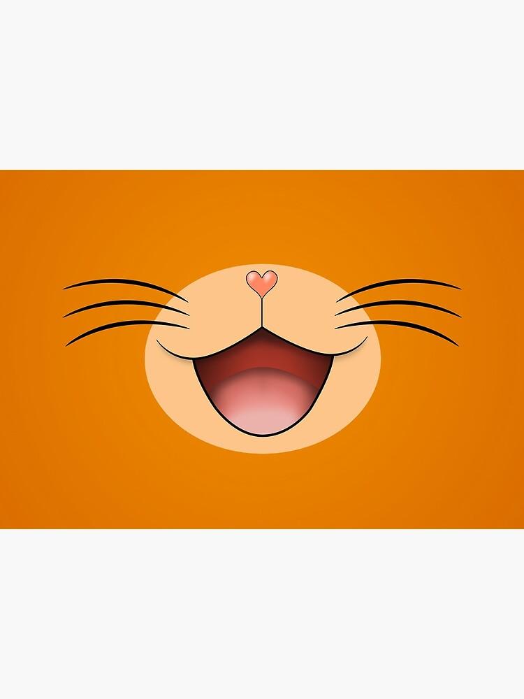 Cute happy smiling cat face mask  Orange/Beige by NearTheKnuckle