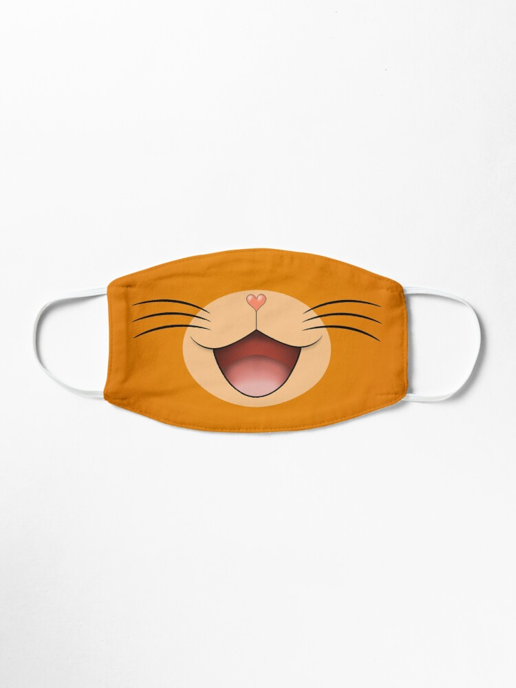Alternate view of Cute happy smiling cat face mask  Orange/Beige Mask