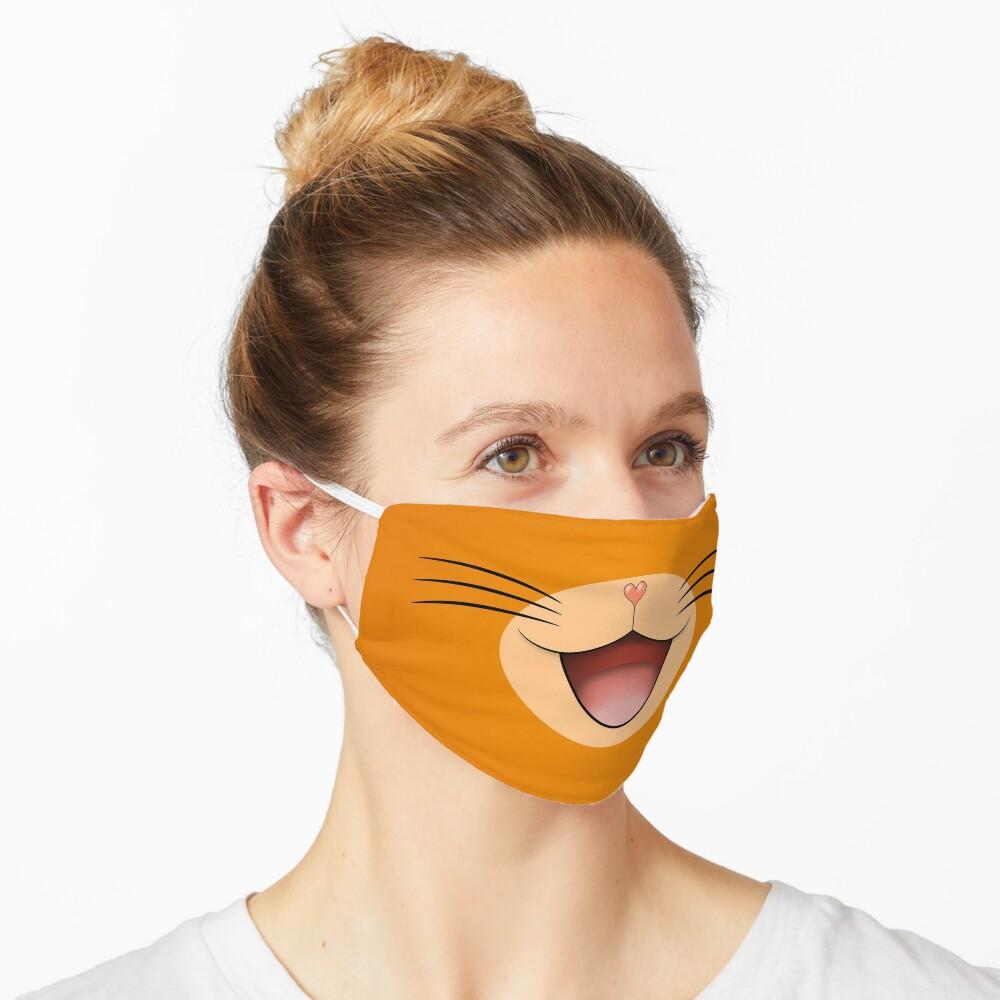 Cute happy smiling cat face mask  Orange/Beige Mask