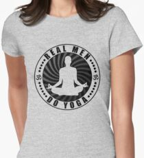Real Men Do Yoga T-Shirt Design. Womens Fitted T-Shirt