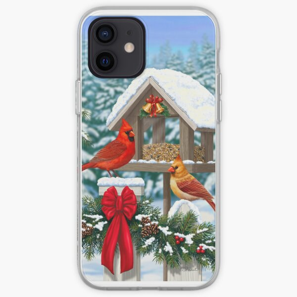 Cardinal Birds and Christmas Bird Feeder iPhone Soft Case