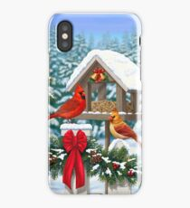 Cardinal Birds and Christmas Bird Feeder iPhone Case