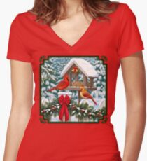 Cardinal Birds and Christmas Bird Feeder Women's Fitted V-Neck T-Shirt