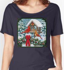Cardinal Birds and Christmas Bird Feeder Women's Relaxed Fit T-Shirt