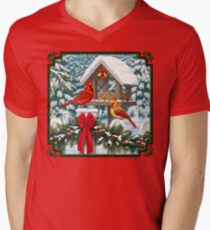 Cardinal Birds and Christmas Bird Feeder T-Shirt