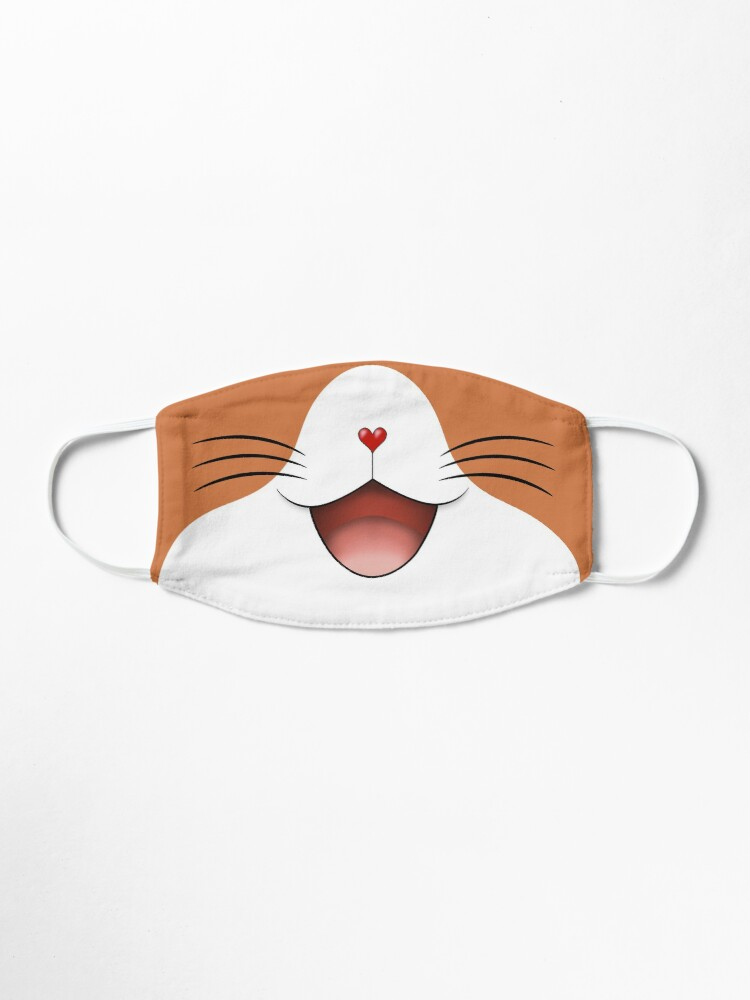 Alternate view of Cute happy smiling cat face mask  ginger/white Mask