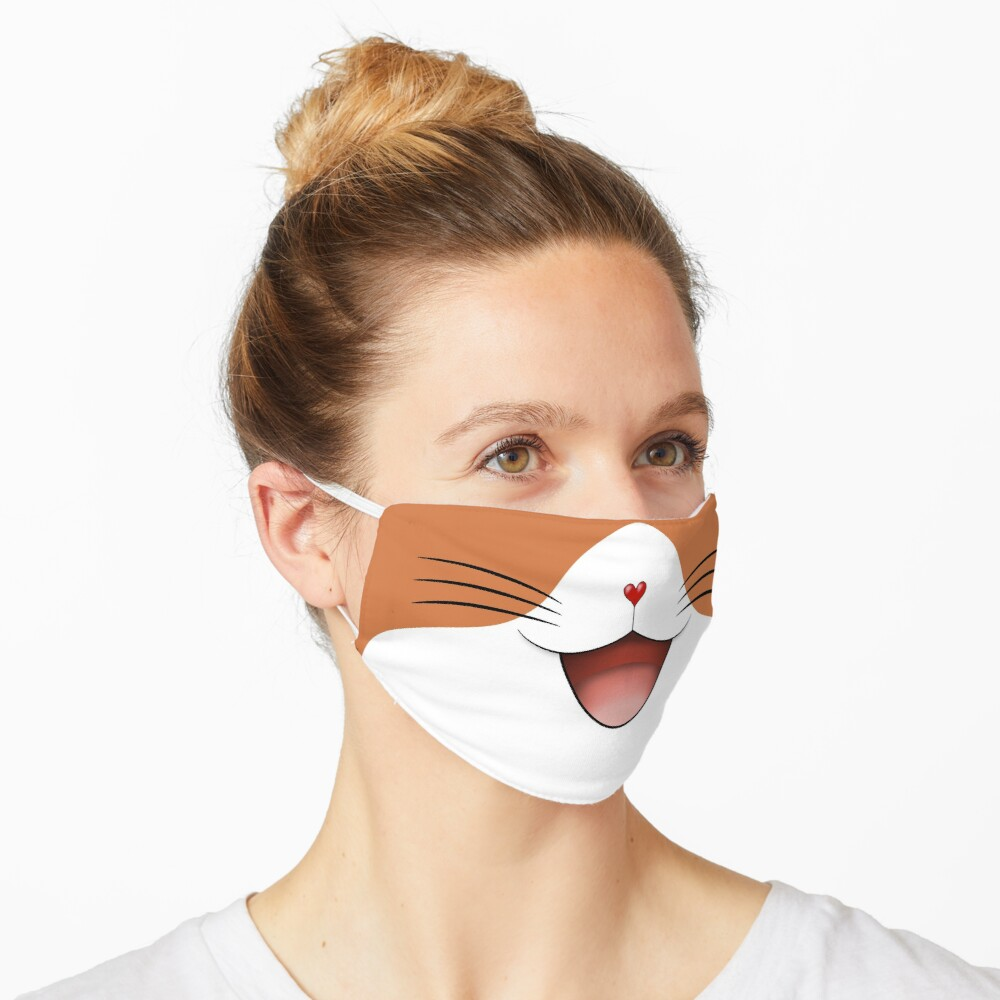 Cute happy smiling cat face mask  ginger/white Mask