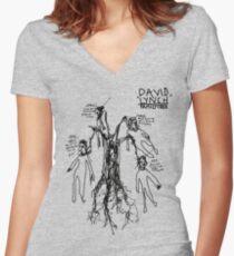 'David Lynch Family Tree' Women's Fitted V-Neck T-Shirt