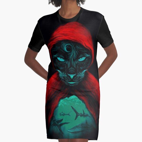 Cat Sharks Graphic T-Shirt Dress
