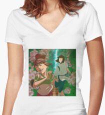 Chihiro & Haku Women's Fitted V-Neck T-Shirt