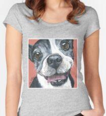 Boston Terrier Art  Women's Fitted Scoop T-Shirt