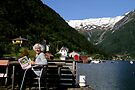 Freda getting ready to do a coloured pencil work in Balestrand, Norway by Freda Surgenor