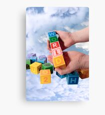 world in hands with sky Canvas Print