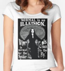 """Morticia Addams-""""Normal Is An Illusion..."""" Women's Fitted Scoop T-Shirt"""
