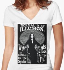"Morticia Addams-""Normal Is An Illusion..."" Women's Fitted V-Neck T-Shirt"