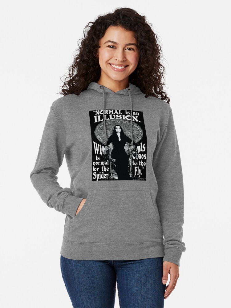 "Alternate view of Morticia Addams-""Normal Is An Illusion..."" Lightweight Hoodie"