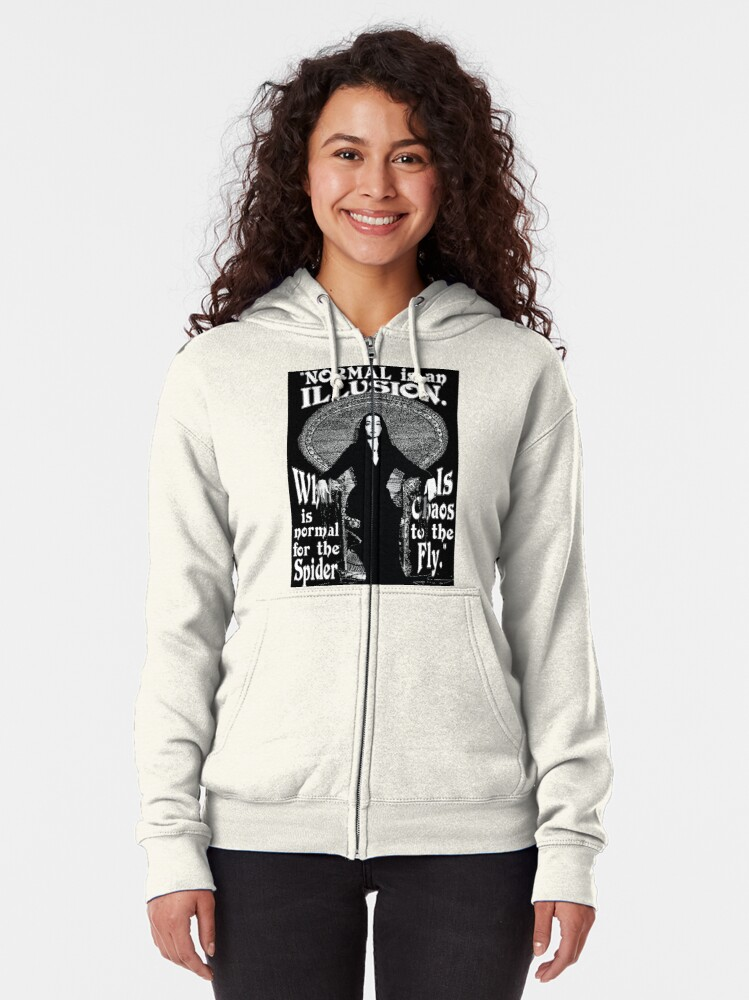"""Alternate view of Morticia Addams-""""Normal Is An Illusion..."""" Zipped Hoodie"""