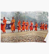 Morning monks line up. Poster