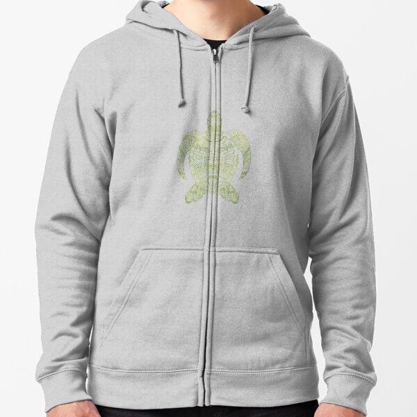 Turtle Mandala (white) Zipped Hoodie