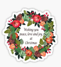 Traditional Christmas Wreath and Greeting Sticker