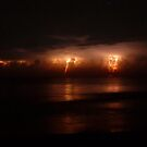Lightning and Surf #1. Melbourne Shores. by chris kusik