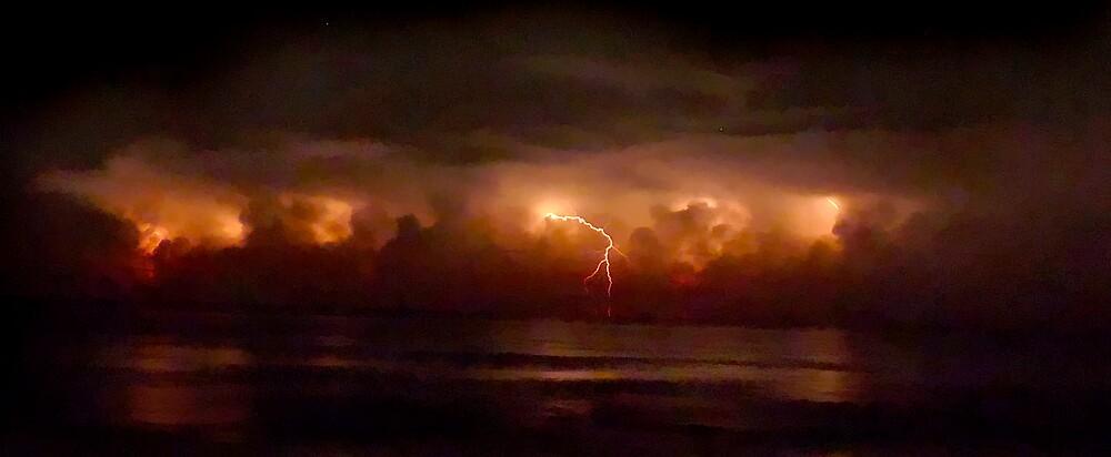 Lightning and Surf #2. Melbourne Shores. by chris kusik