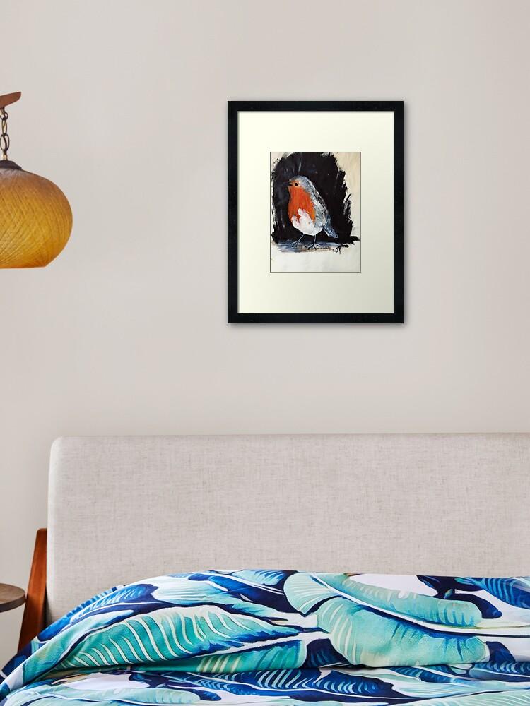 Robin Wild Uk Garden Bird Acrylics On Paper Framed Art Print By Jamespeart Redbubble