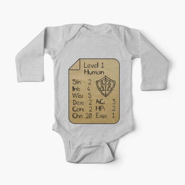 Level 1 - Human [only for Nerd Babies] Long Sleeve Baby One-Piece