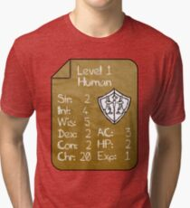 Level 1 - Human [only for Nerd Babies] -Original Colors Tri-blend T-Shirt