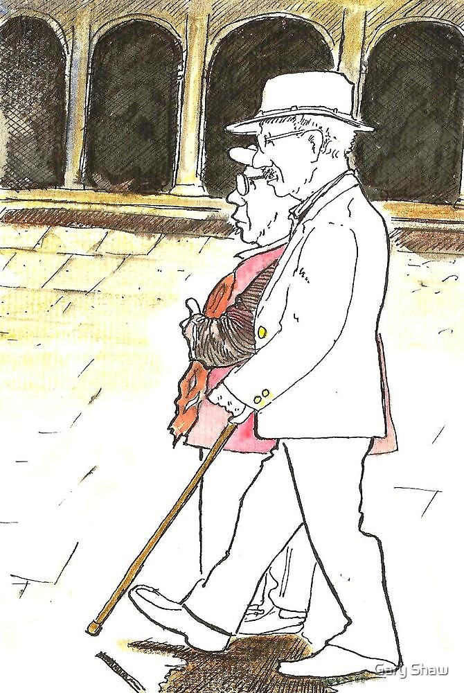 Postcard from Europe - older couple in St Marks by Gary Shaw