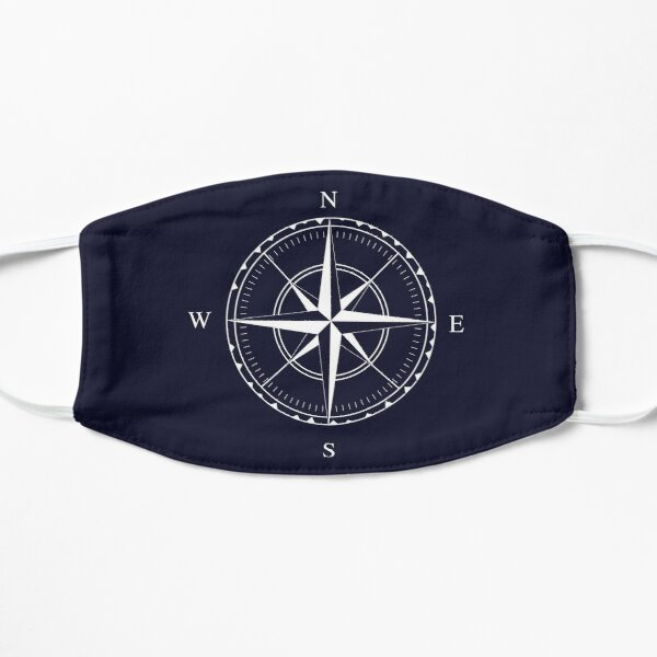 Navy Blue and White Nautical Ships Compass Rose Flat Mask
