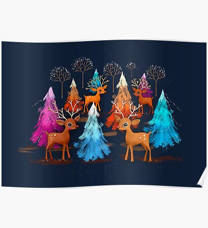 Happy Christmas Trees Poster