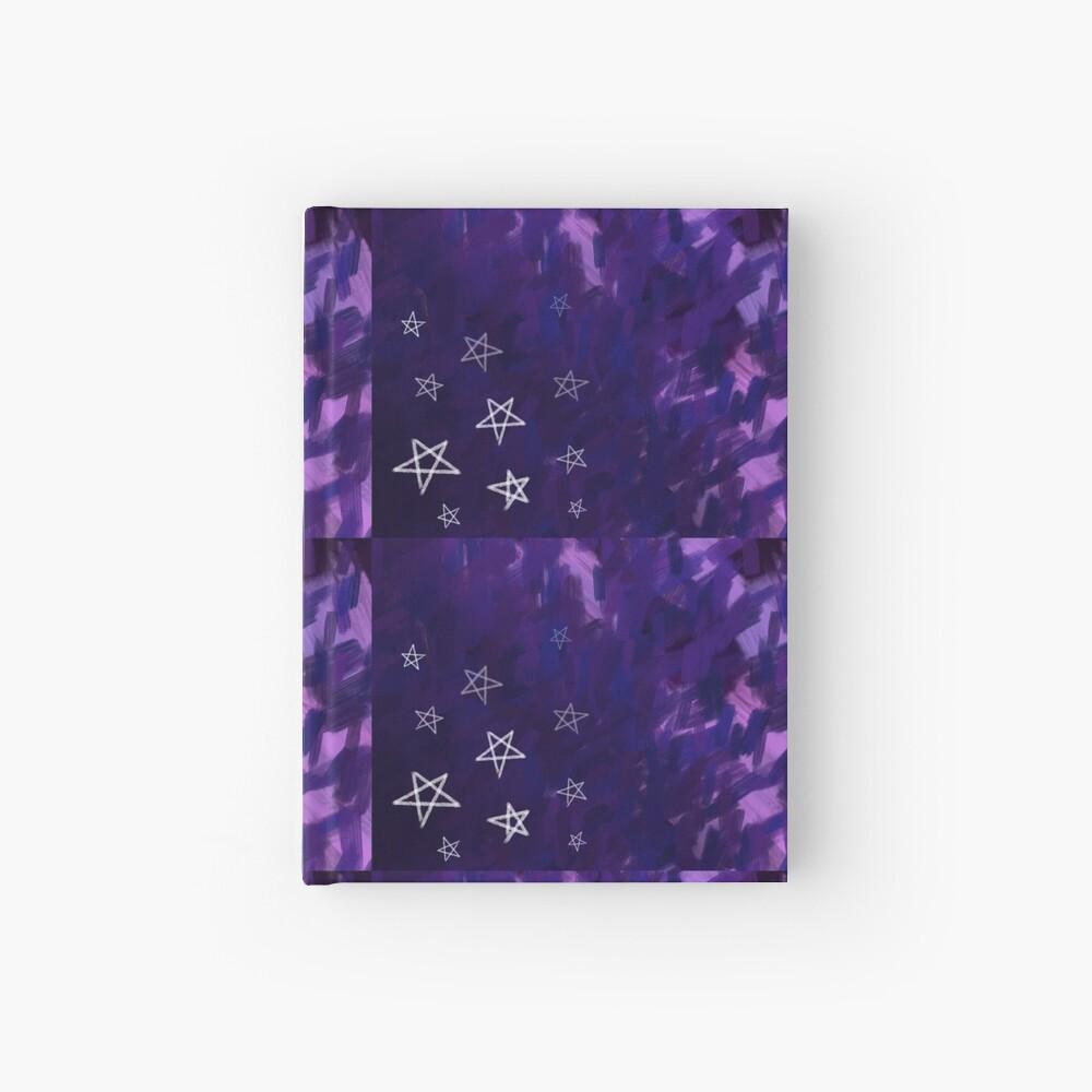 Dark Purple Nighttime, White Stars on Rough Sky Hardcover Journal