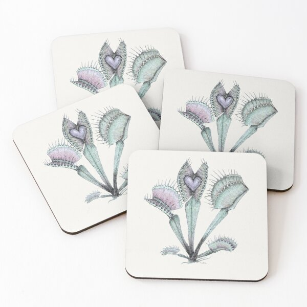 Carnivorous plant love Coasters (Set of 4)