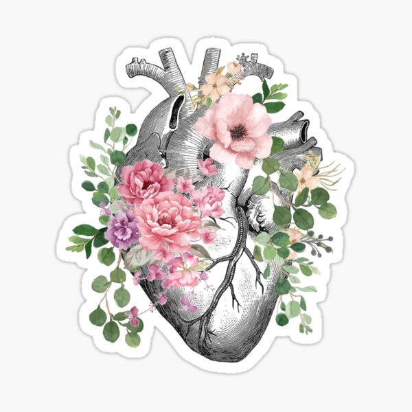 Bloom Floral Heart Human Anatomy pink roses flowers Sticker