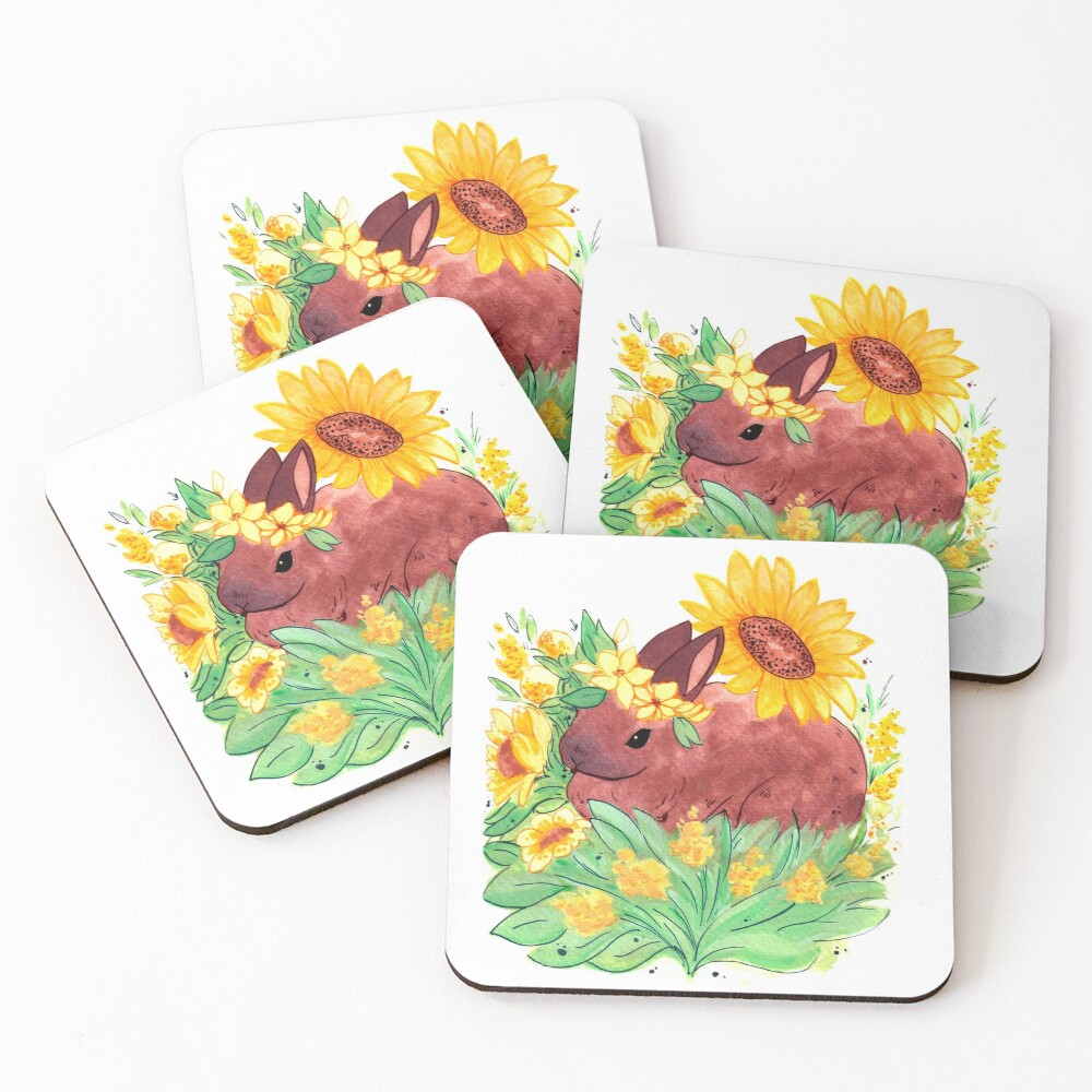 Portrait of rabbit in a sunflower garden Coasters (Set of 4)