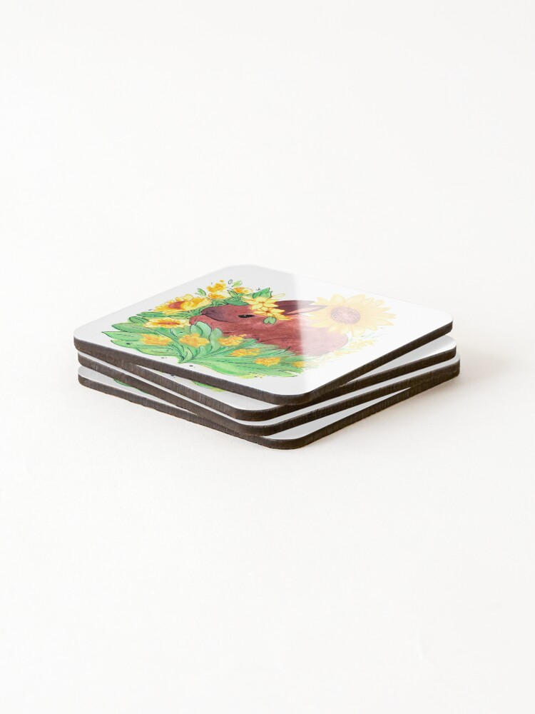 Alternate view of Portrait of rabbit in a sunflower garden Coasters (Set of 4)