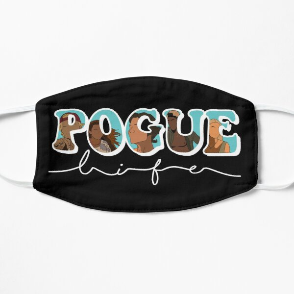 POGUE life letters with characters(black background) Flat Mask