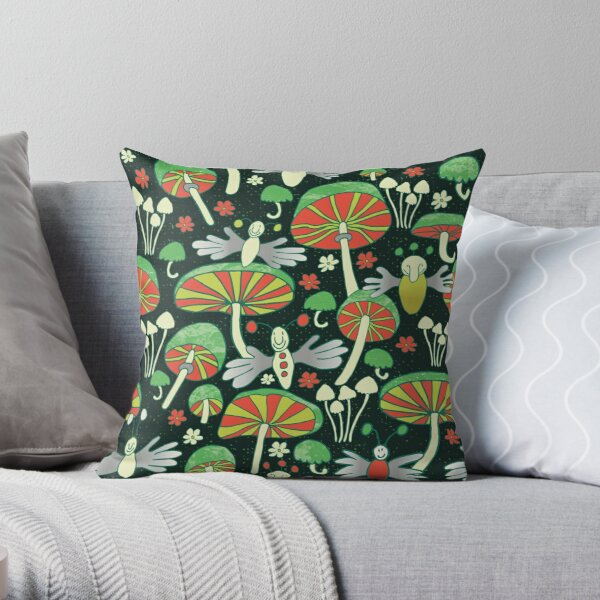 fingerflies and fungi at night Throw Pillow