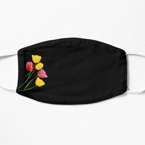 Tulip flower, red yellow rose Flat Mask