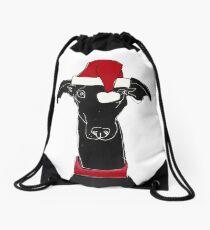greyhound xmas Drawstring Bag