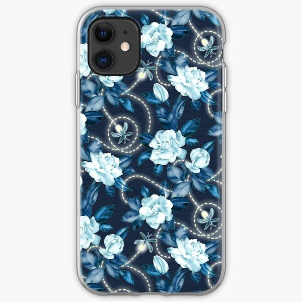 Midnight Sparkles - Gardenias and Fireflies in Sapphire Blue iPhone Soft Case