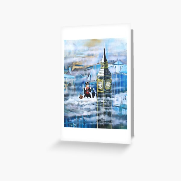 Mary Poppins in the clouds Greeting Card