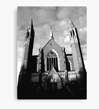 Sacred Heart Cathedral, Bendigo. B&W Canvas Print